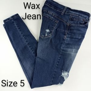 Wax Jean Destructed Skinny High Rise Denim Jeans 5